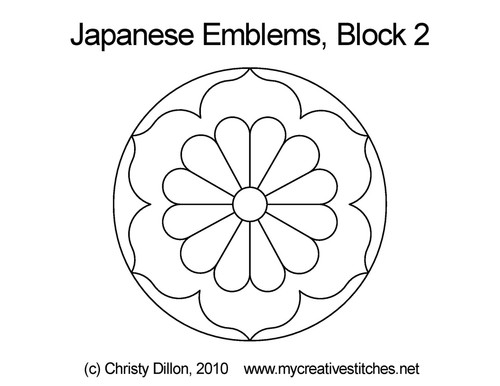 Japanese emblems block 2 quilt pattern