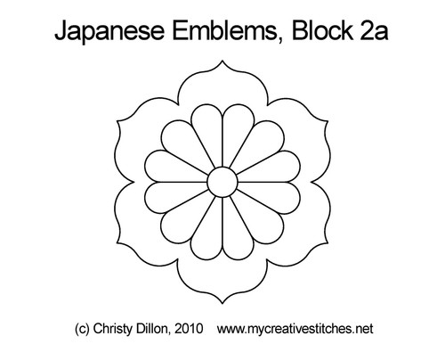 Japanese emblems quilting pattern for block 2a