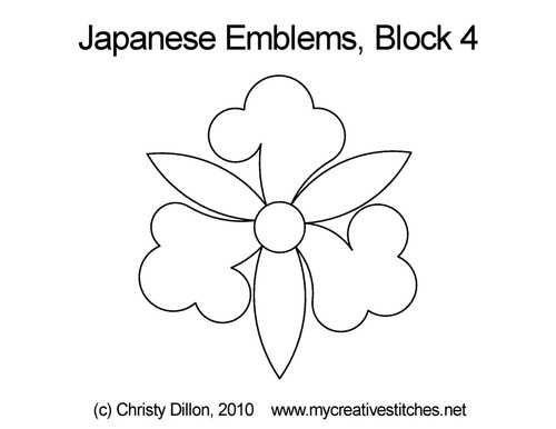 Japanese emblems block  4 quilt pattern