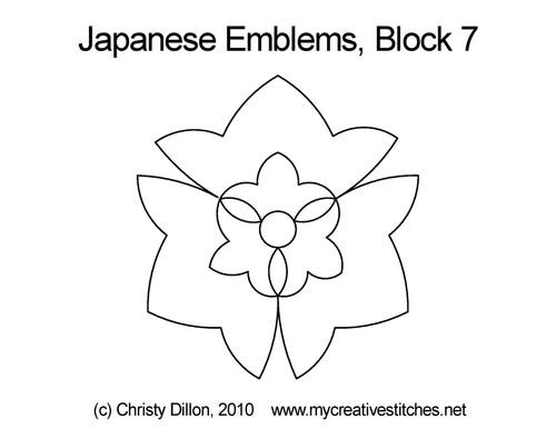Japanese emblems block 7 quilt pattern