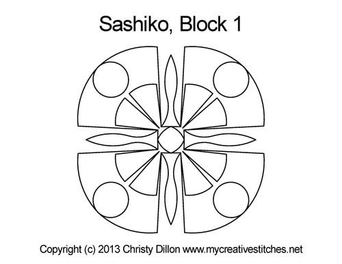 Sashiko digital quilting design for block 1