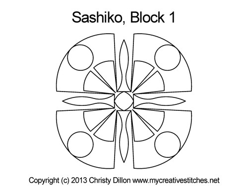 Sashiko digital quilting design for block 1