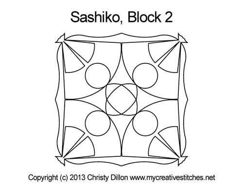 Sashiko digital quilting design for block 2