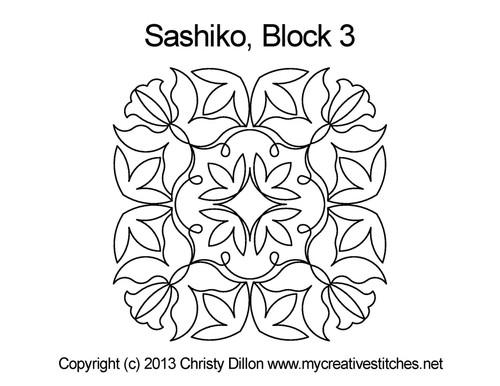 Sashiko digital quilting design for block 3