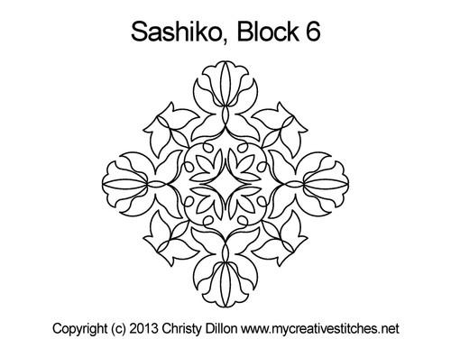 Sashiko digital quilting design for block 6