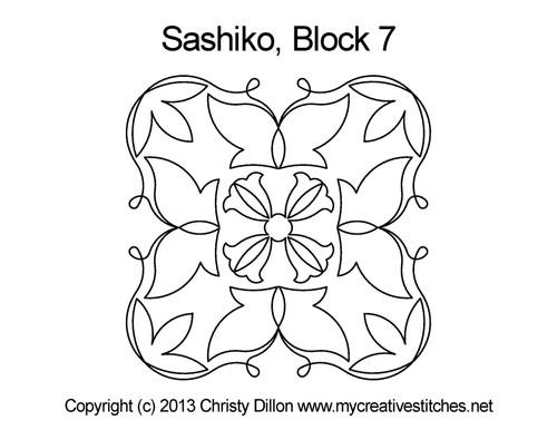 Sashiko digital quilting design for square block 7