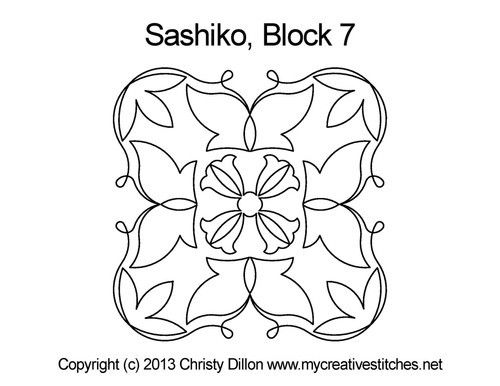 Sashiko digital quilting design for square block 7