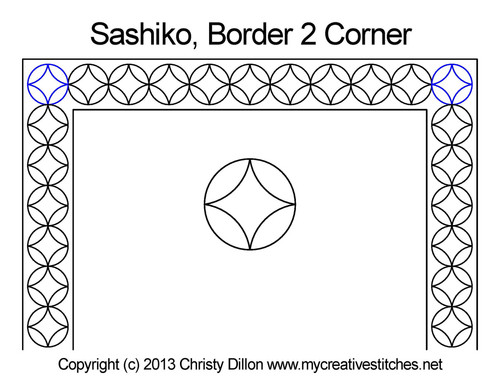 Sashiko border 2 corner quilting patterns