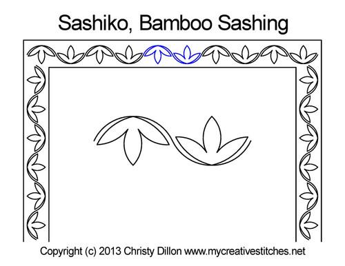 Sashiko bamboo sashing quilt pattern