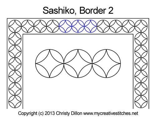 Sashiko border 2 free quilting design
