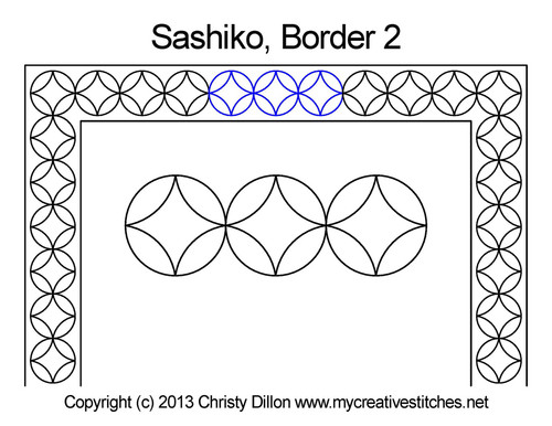 Sashiko border 2 free quilting design
