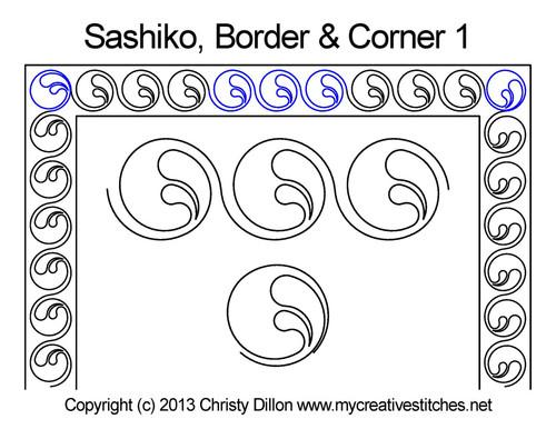 Sashiko border & corner 1 quilting patterns