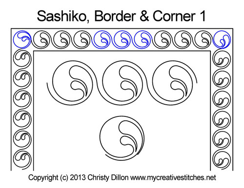 Sashiko border & corner 1 quilting patterns
