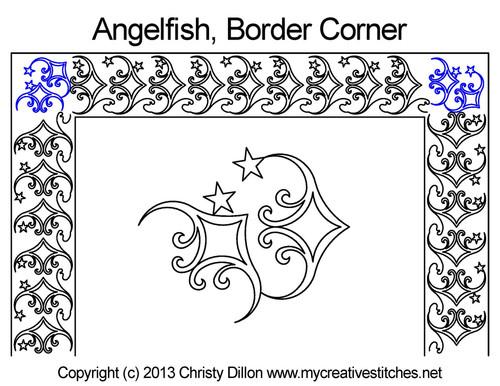 Angelfish border & corner quilt pattern
