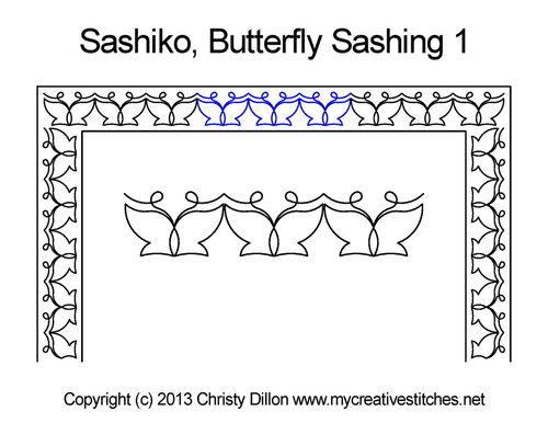 Sashiko Butterfly Sashing 1