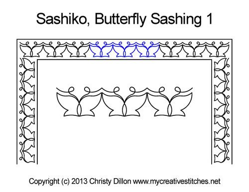 Sashiko butterfly sashing 1 quilt pattern