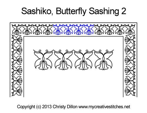 Sashiko butterfly sashing 2 quilt pattern