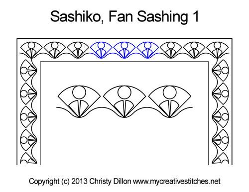 Sashiko fan sashing quilting designs