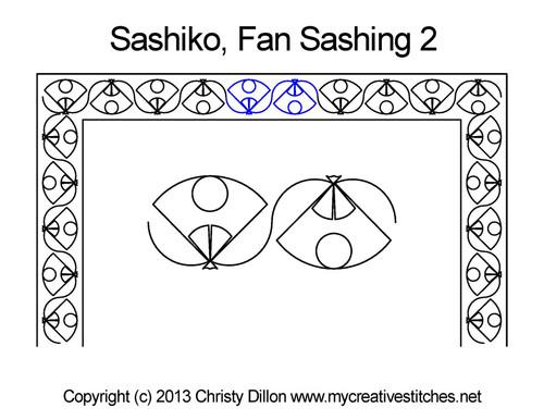 Sashiko fan sashing 2 quilting designs