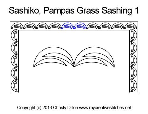 Sashiko pampas grass sashing 1 quilting designs