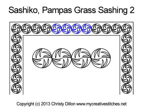 Sashiko pampas grass sashing 2 quilting designs