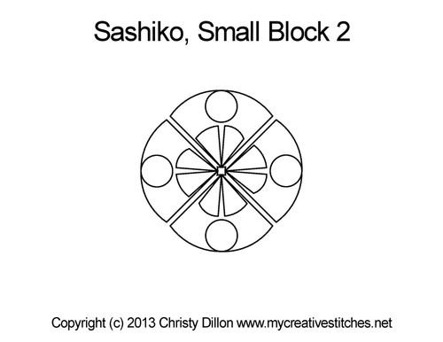 Sashiko small quilting pattern for block 2