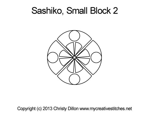 Sashiko small quilting pattern for block 2