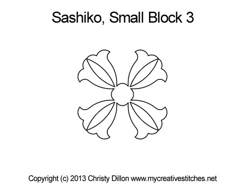Sashiko small quilting pattern for block 3