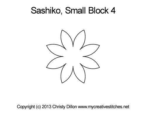 Sashiko small star block 4 quilt pattern