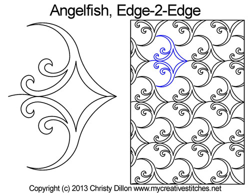 Anglefish edge to edge digital quilt designs