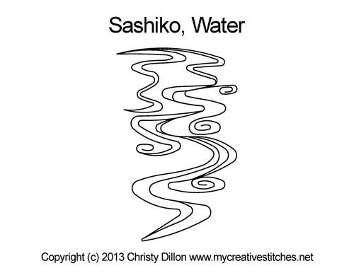 Sashiko water quilting pattern for block