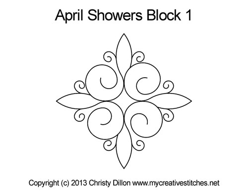 April showers block 1 quilting design
