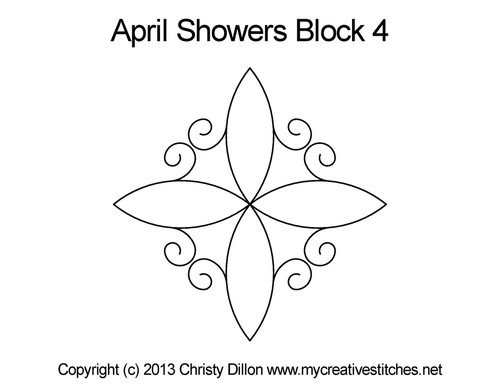 April showers quilting design for block 4