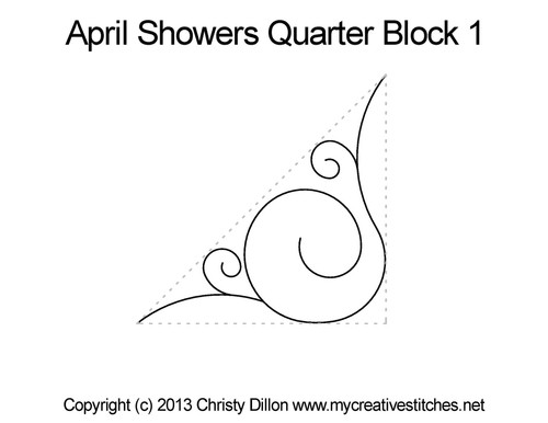 April showers quarter block 1 quilting design