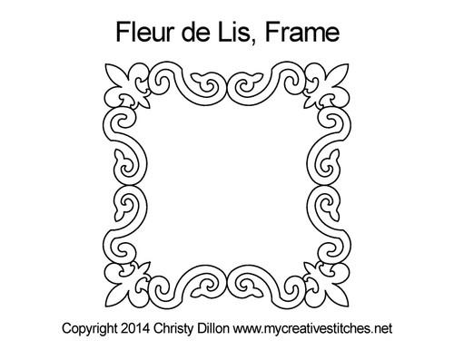 Fleur de lis computerized frame quilt pattern