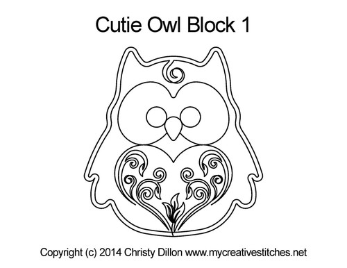 Cutie owl quilting patterns for block 1