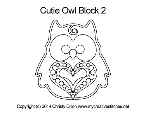 Cutie owl block 2 quilting designs