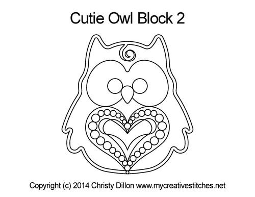 Cutie owl block 2 quilting designs