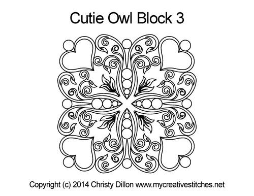 Cutie owl square block 3 quilt pattern