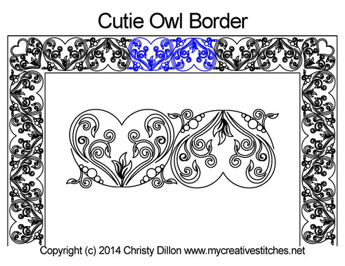 Cutie owl border quilting design