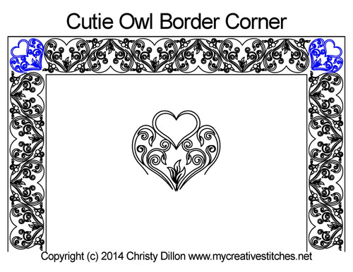 Cutie owl border & corner quilt pattern