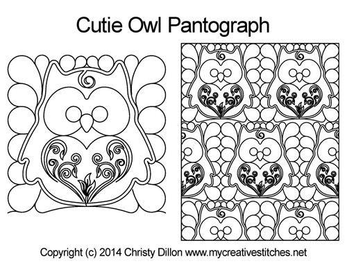Cutie owl long arm quilting pantographs