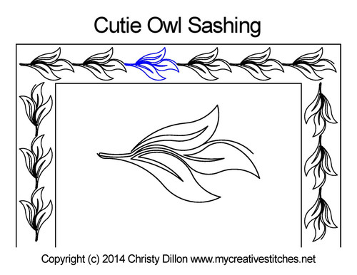 Cutie owl long sashing quilt pattern