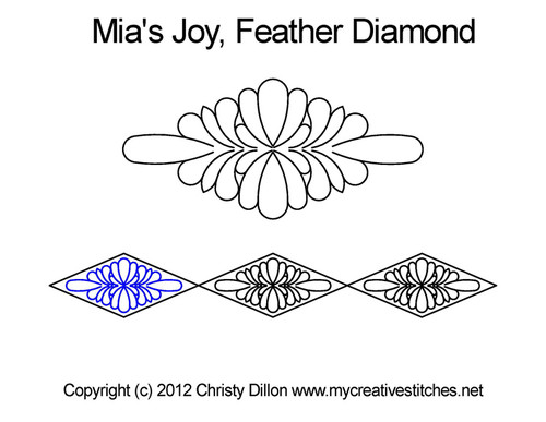 Mia's Joy feather diamond quilt pattern