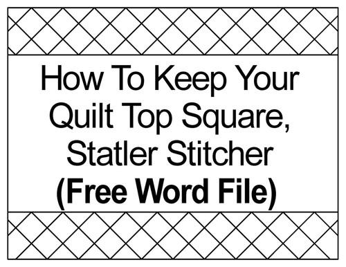 Digitized quilt top square for statler stitcher