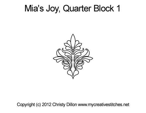 Mia's joy quarter block 1 quilting pattern