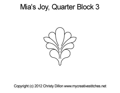 Mia's joy quarter block 3 quilting pattern