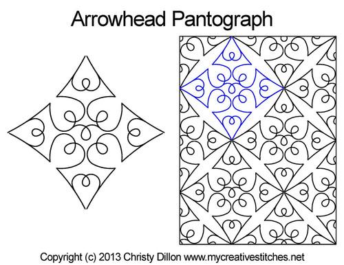 Arrowhead pantographs quilting