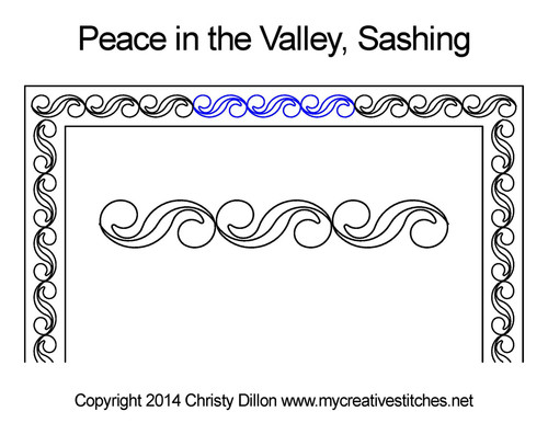Peace in the velly sashing quilting design