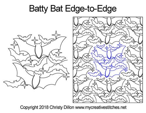 Batty bat edge to edge quilting design